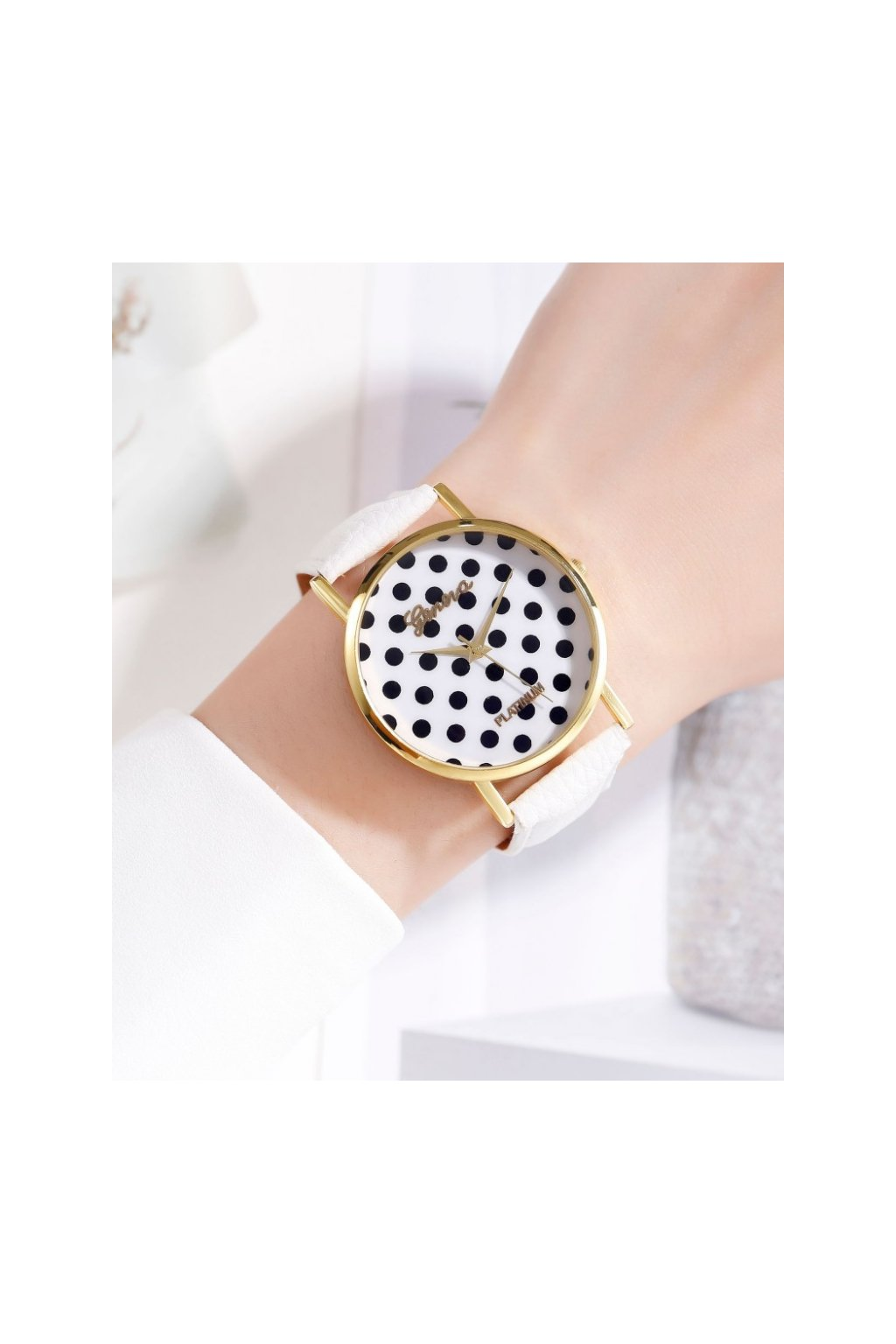 Puntíkaté bílé hodinky Geneva