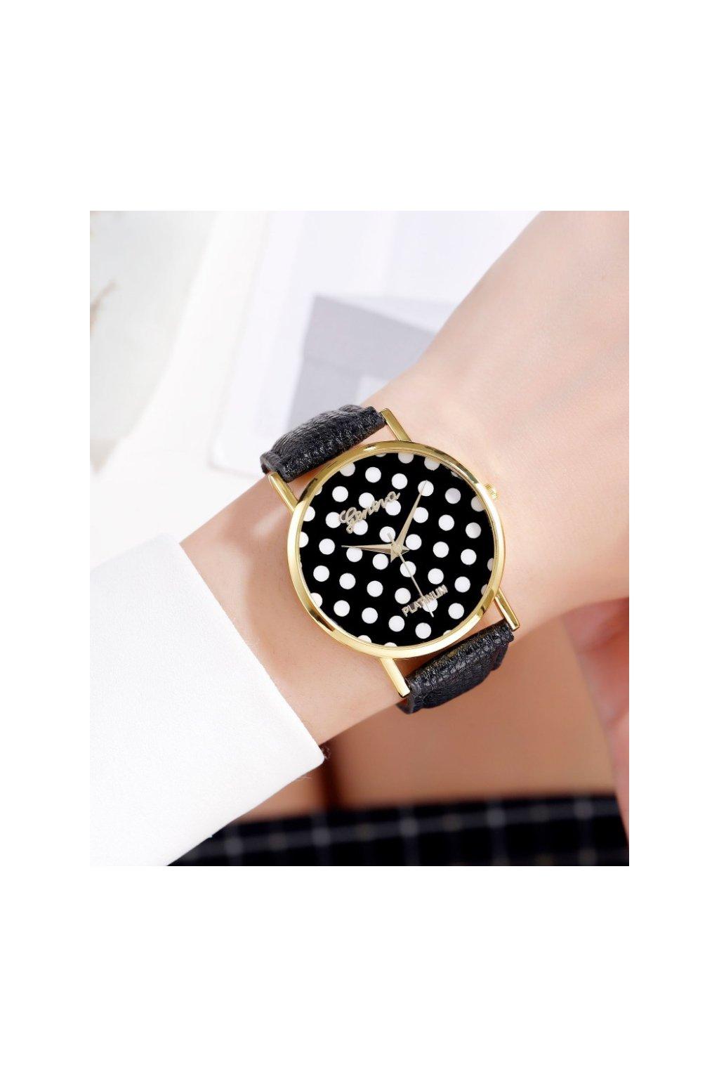 Puntíkaté černé hodinky Geneva
