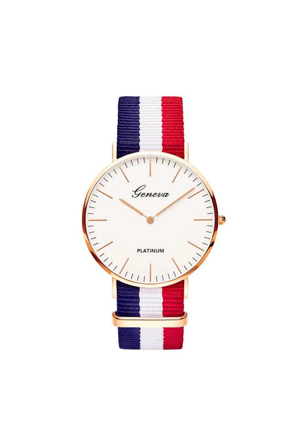 Pruhované hodinky s textilním páskem