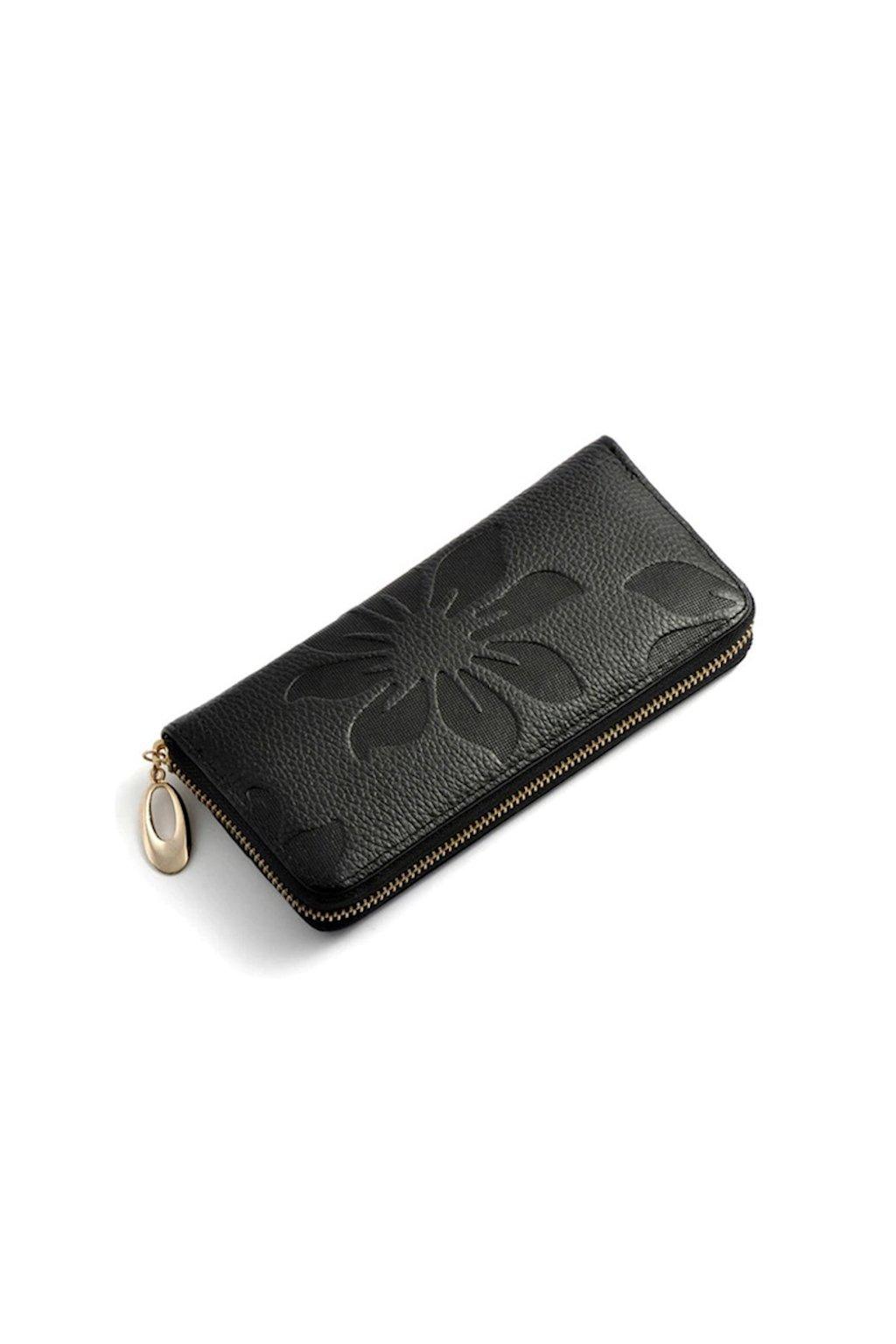 Černá květinová peněženka z eko kůže