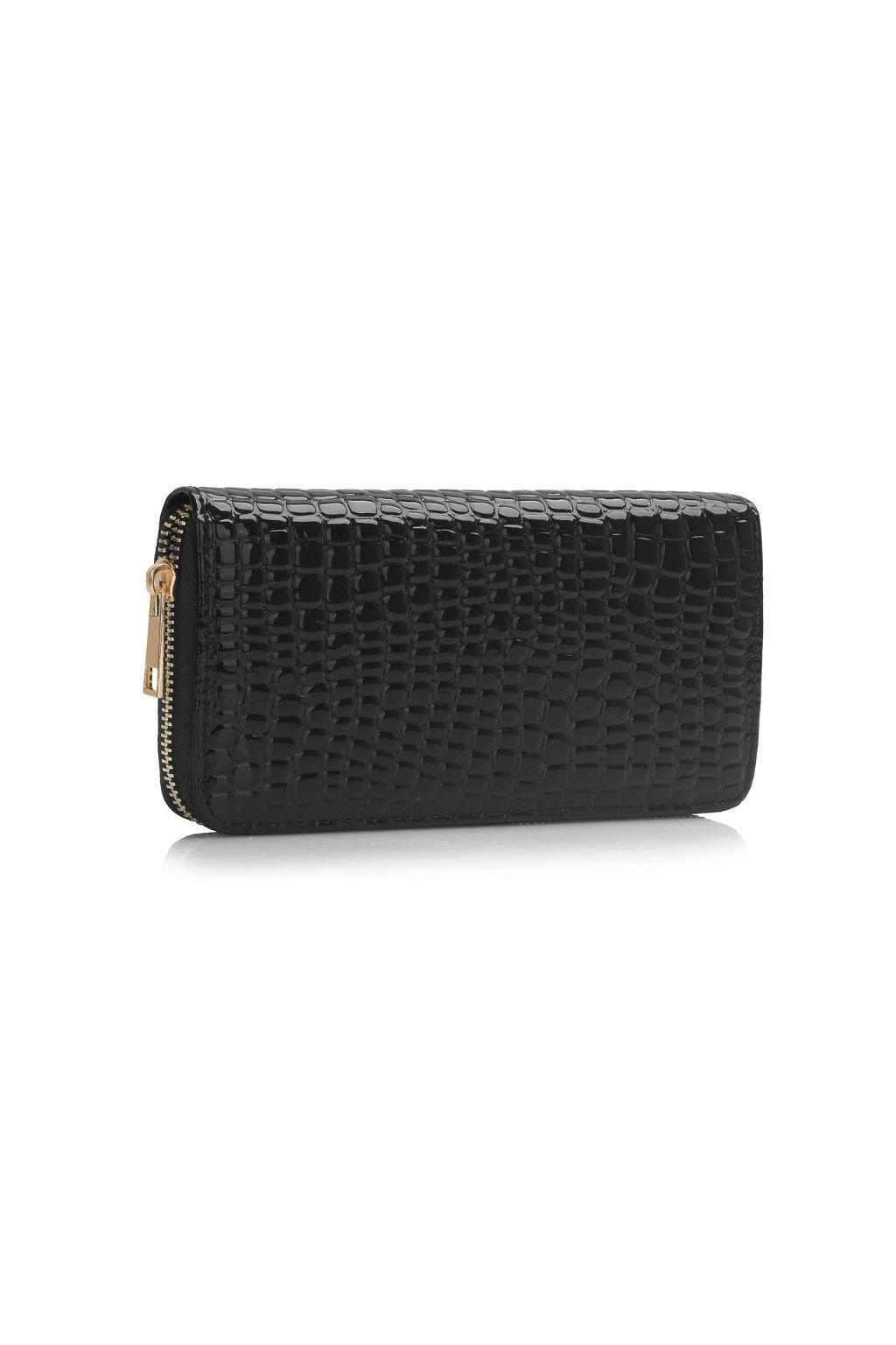 Lesklá černá peněženka LS Fashion