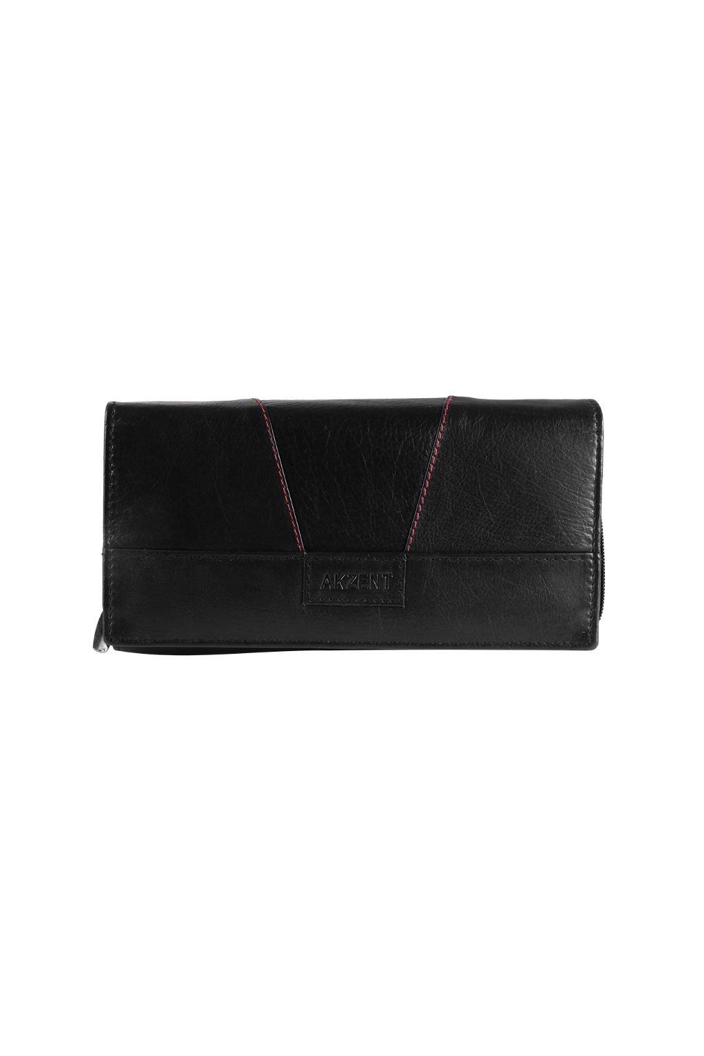 Černá kožená peněženka Akzent
