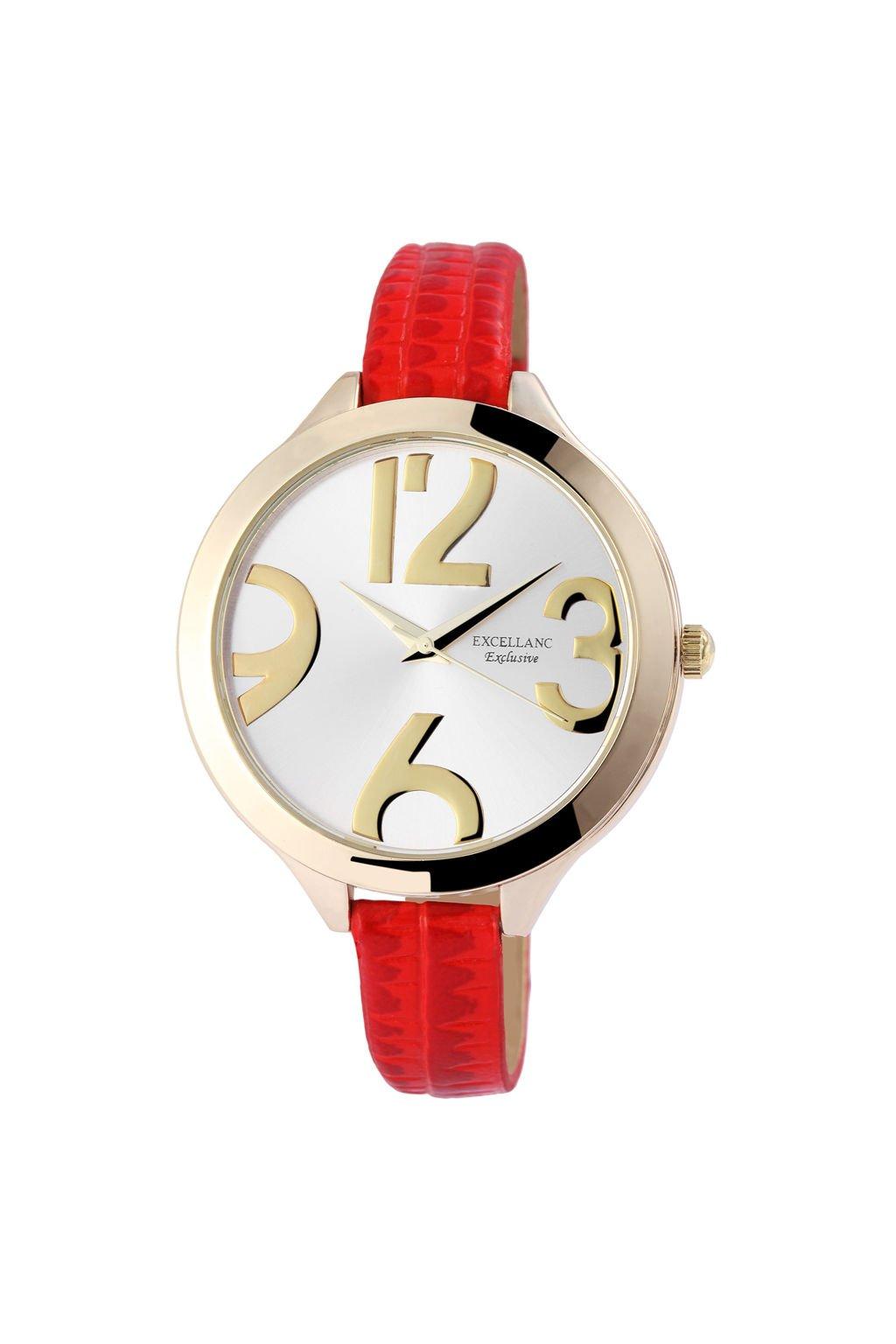 Moderní červené dámské hodinky s úzkým páskem