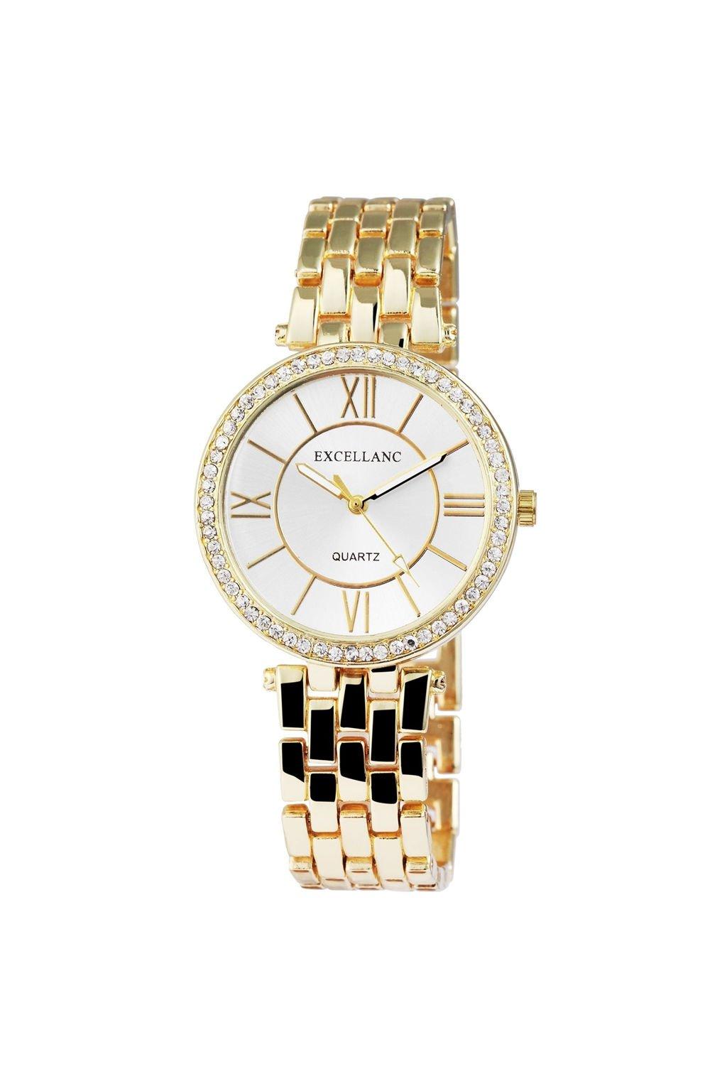 Zlaté dámské kovové hodinky s krystalky