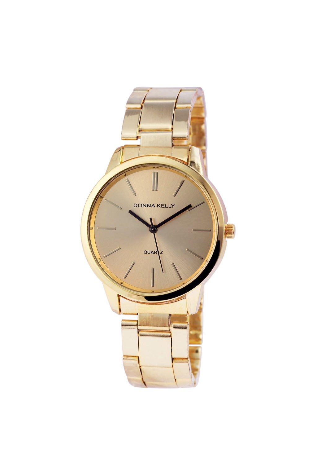 Moderní zlaté dámské hodinky Donna Kelly z nerezové oceli