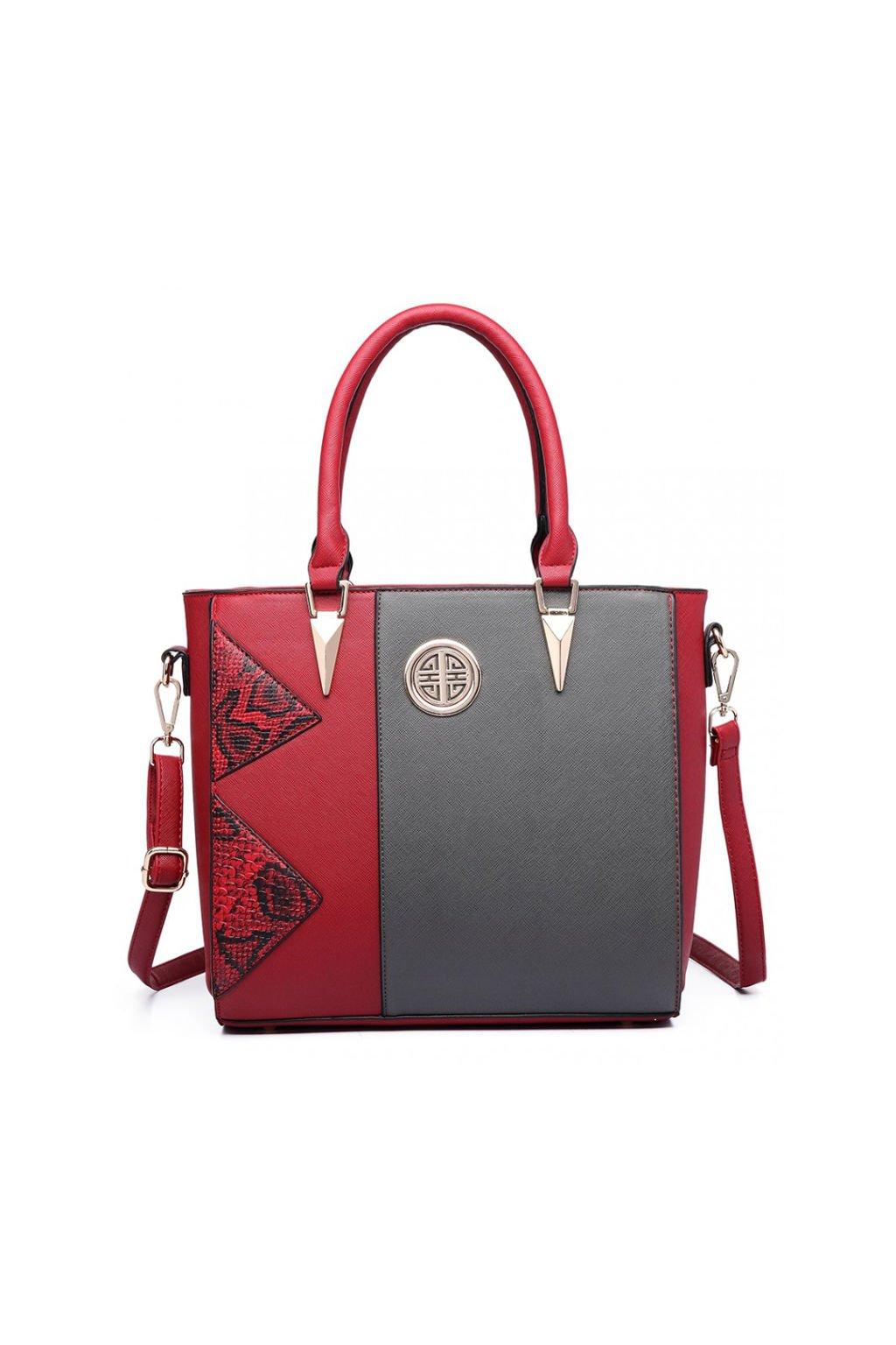 Červeno-šedá moderní kabelka LT1654