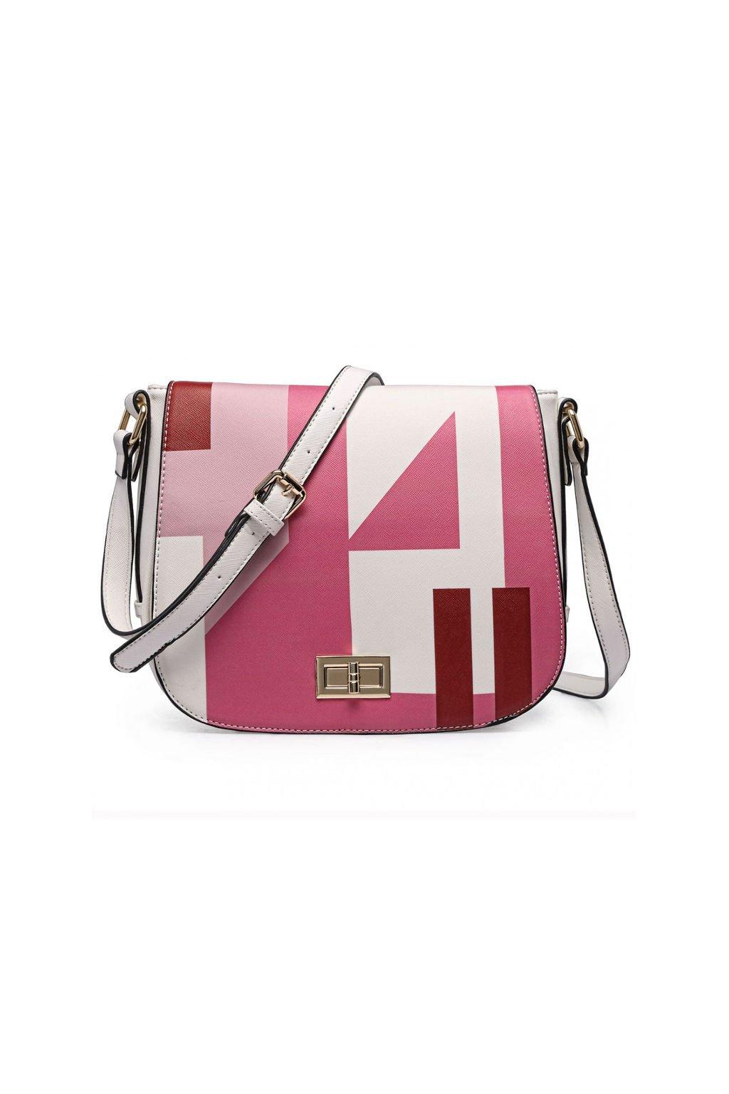 Bílá crossbody kabelka Miss Lulu s růžovým potiskem LT1663