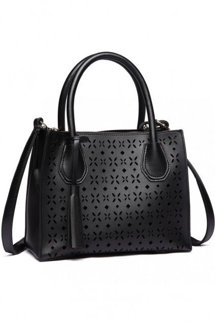 Černá perforovaná kabelka do ruky