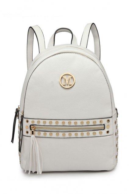 Bílý batoh Miss Lulu se zlatými doplňky