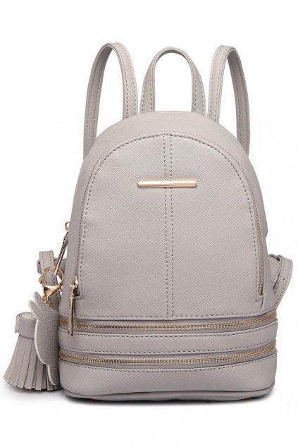 Menší šedý batoh Miss Lulu se zipy