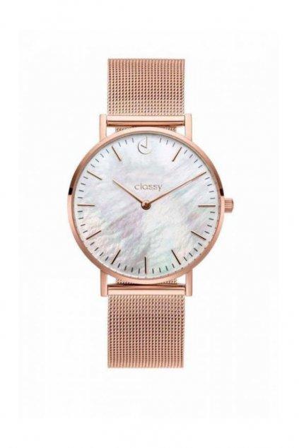 Elegantní hodinky Classy růžově zlaté barvy s kovovým páskem