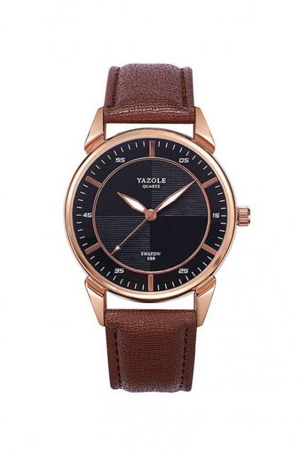 Elegantní hnědé pánské hodinky s černým ciferníkem