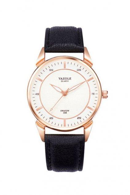 Elegantní černé pánské hodinky s bílým ciferníkem