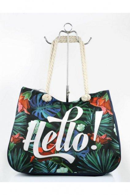 Tmavě modrá plážová taška Hello