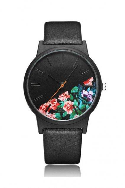 Celočerné hodinky s květy