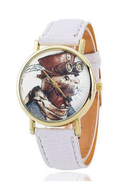 Stylové bílé hodinky s motivem kočky