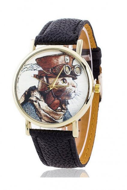 Stylové černé hodinky s motivem kočky