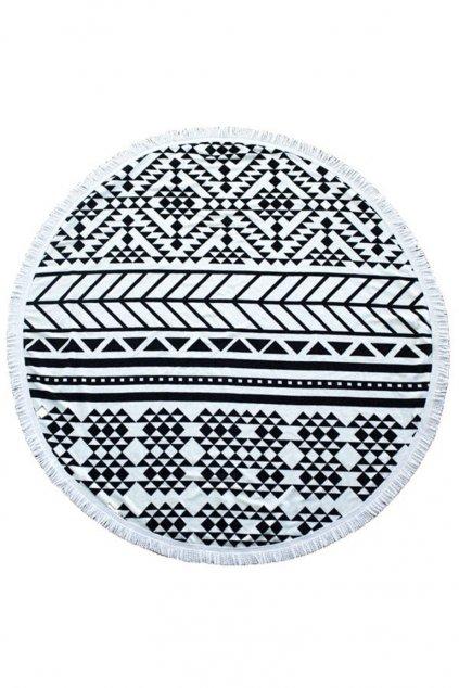 Originální kulatý plážový ručník černo-bílý