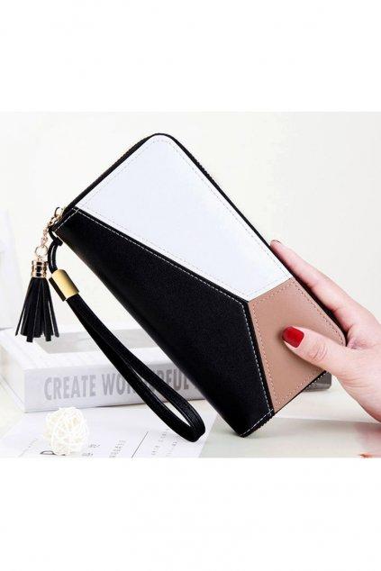 Luxusní černo-bílo-hnědá peněženka