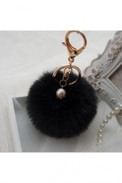 Kožešinový přívěsek na kabelku černý