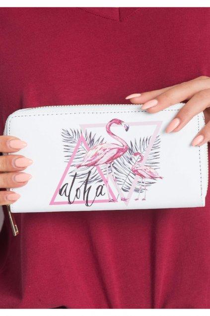 Bílá peněženka s plameňáky Aloha