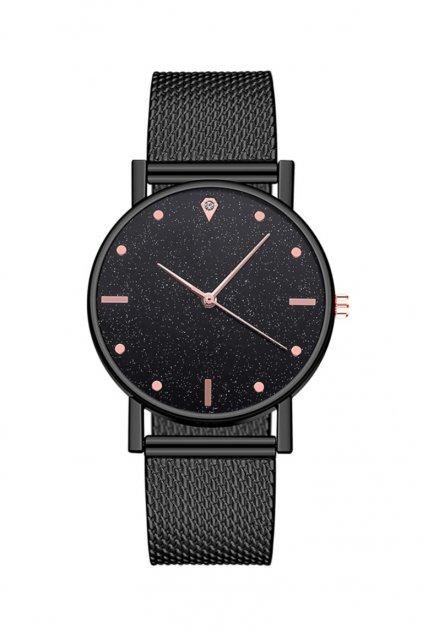 Celočerné hodinky s kamenným motivem