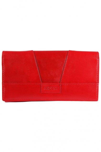 Červená kožená peněženka Akzent