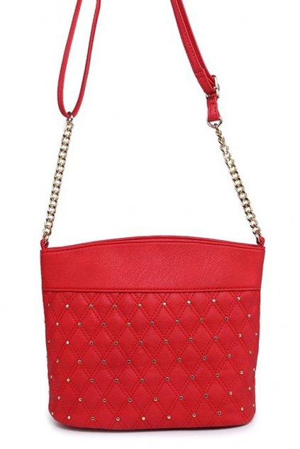 Malá červená crossbody kabelka se zlatým zdobením M3478-4