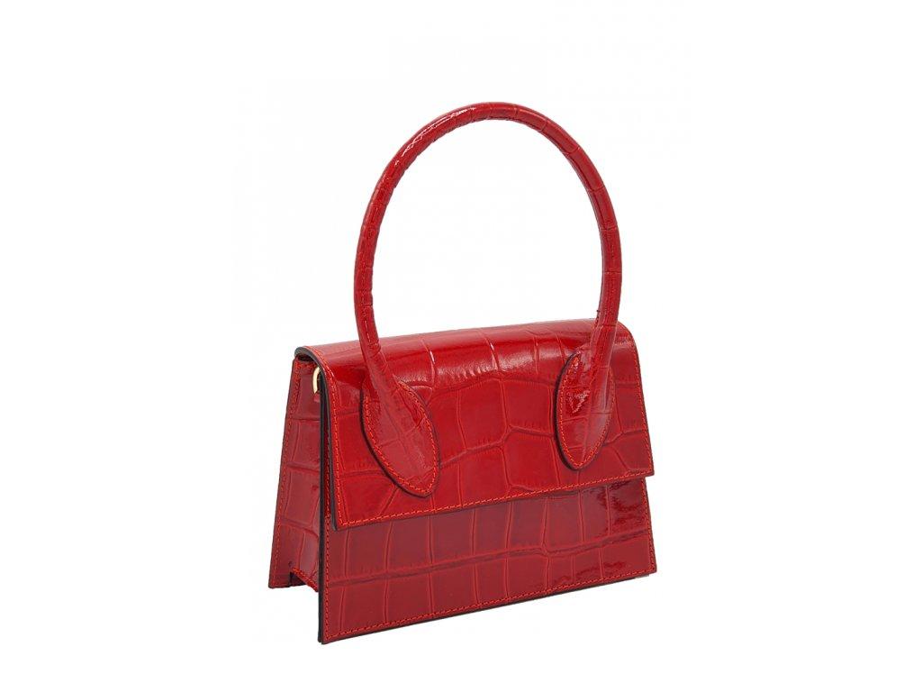 Kožená kabelka do ruky Helga červená laková