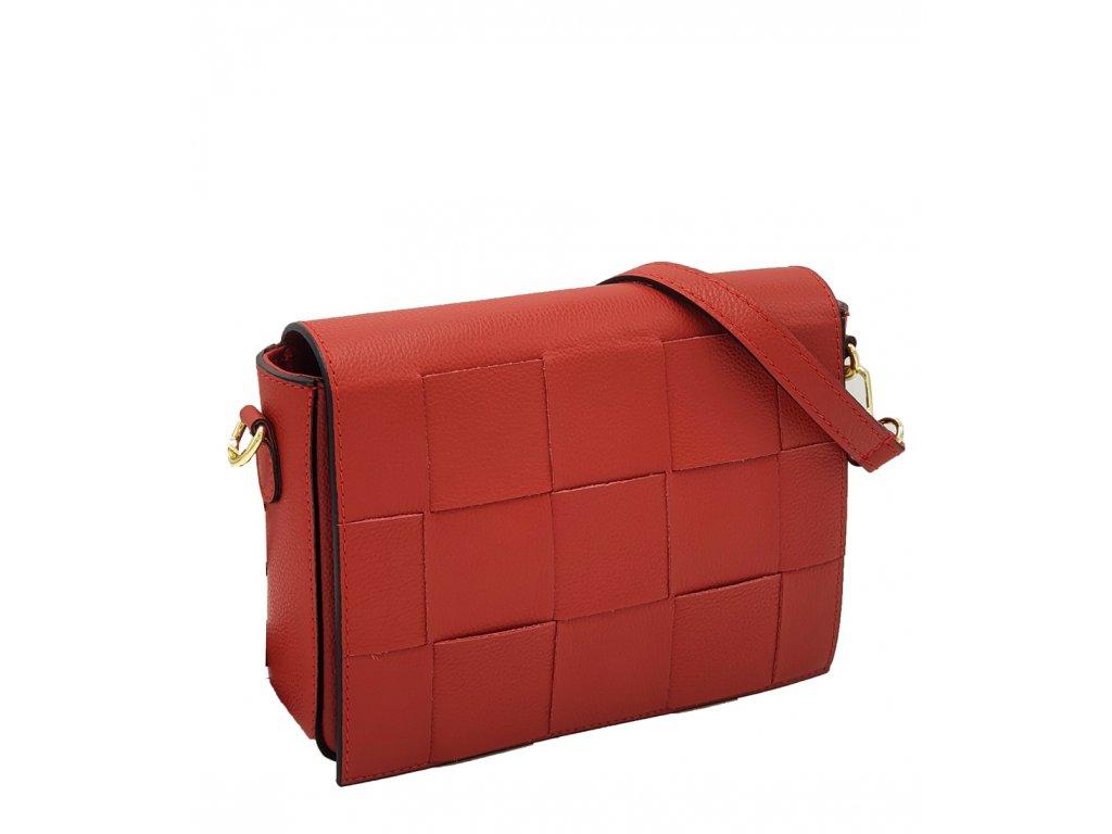 Kožená crossbody kabelka Petra červená