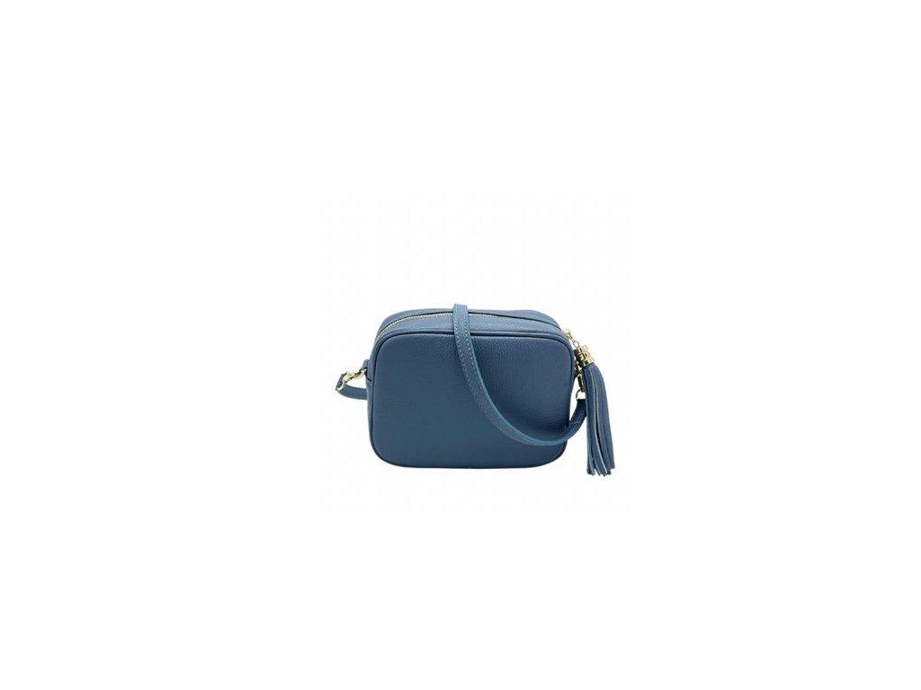 Kožená crossbody kabelka Lidia modrá