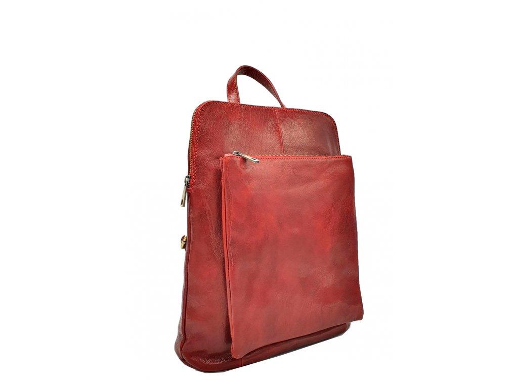 Kožený batoh Kuba tmavě červený vintage