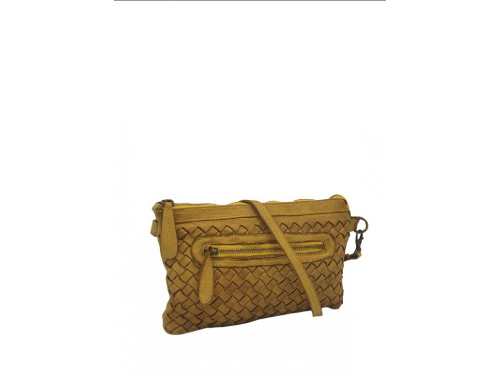 Kožená kabelka vintage hořčicová