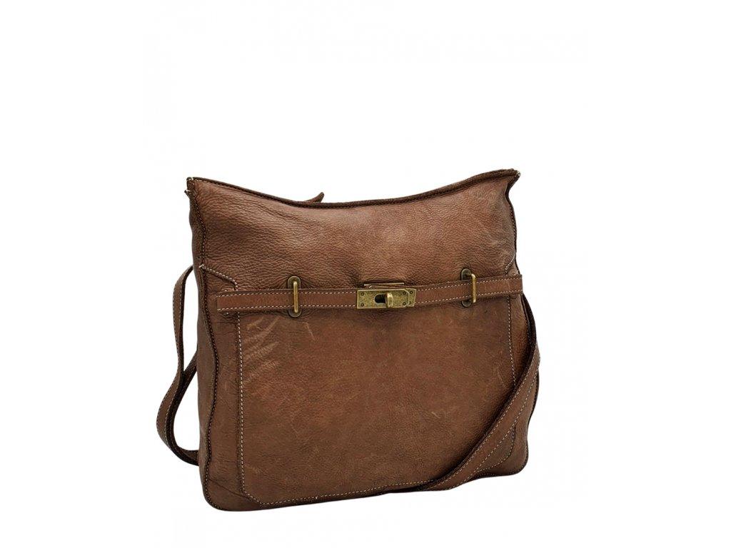 Kožená crossbody kabelka hnědá vintage v105 (1)