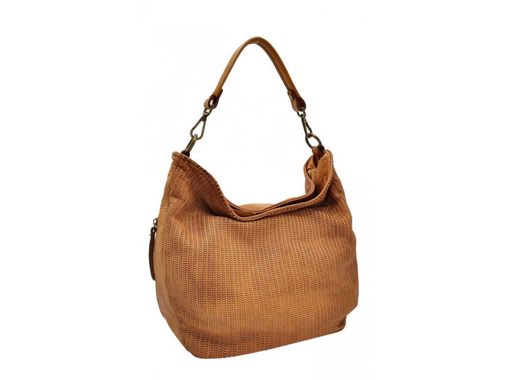 Kožená kabelka přes rameno hnědá vintage 3049 (1)