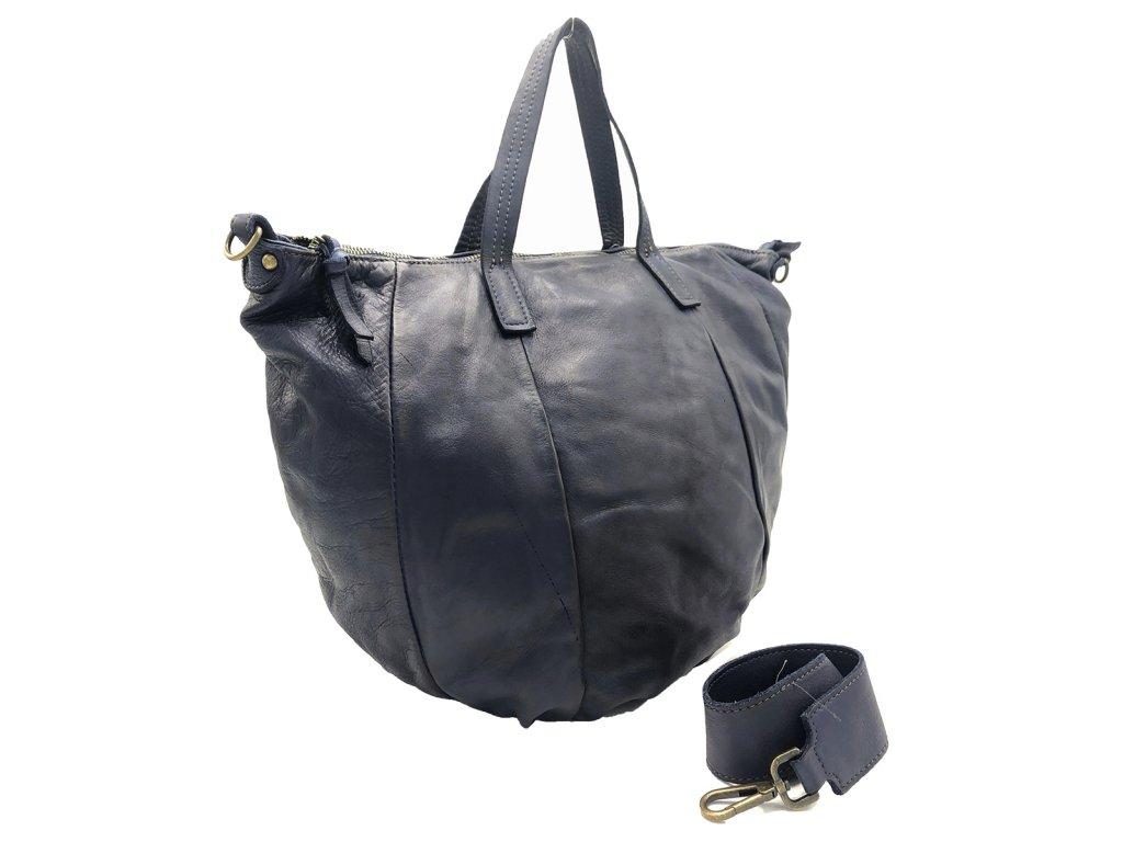 Kožená kabelka vintage modrá