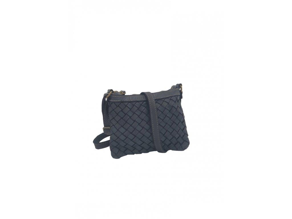 Kožená crossbody kabelka vintage černá