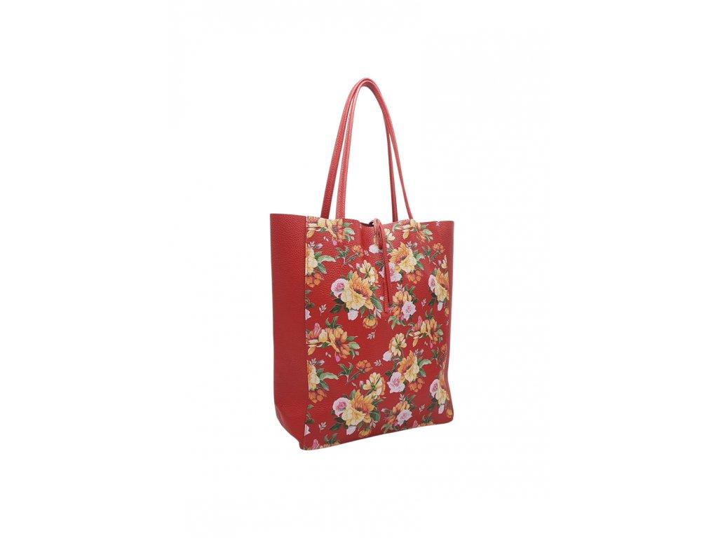 Kožená taška přes rameno Inna červená s květy