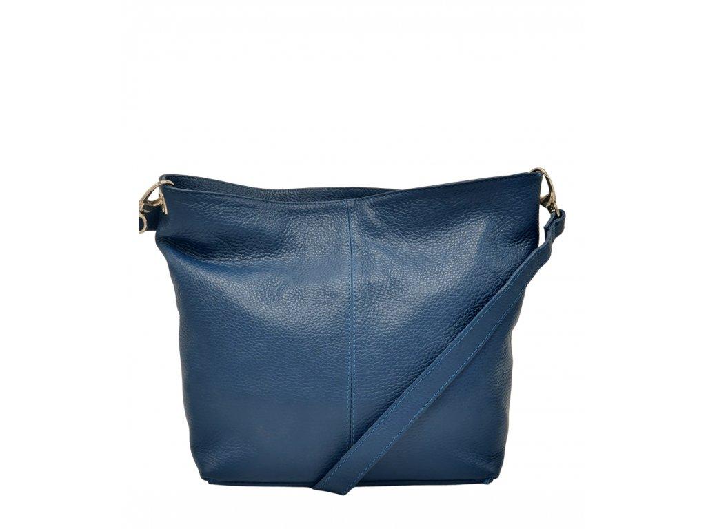 Kožená crossbody kabelka modrá 3147 (1)