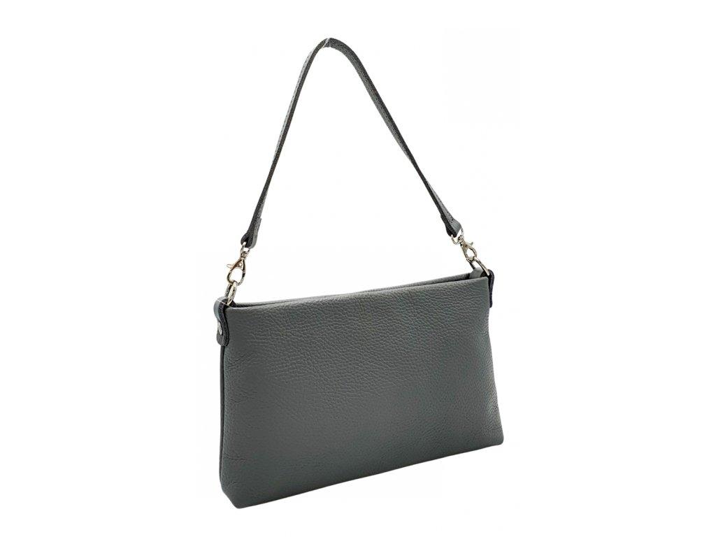 Kožená crossbody kabelka šedá 6130 (3)
