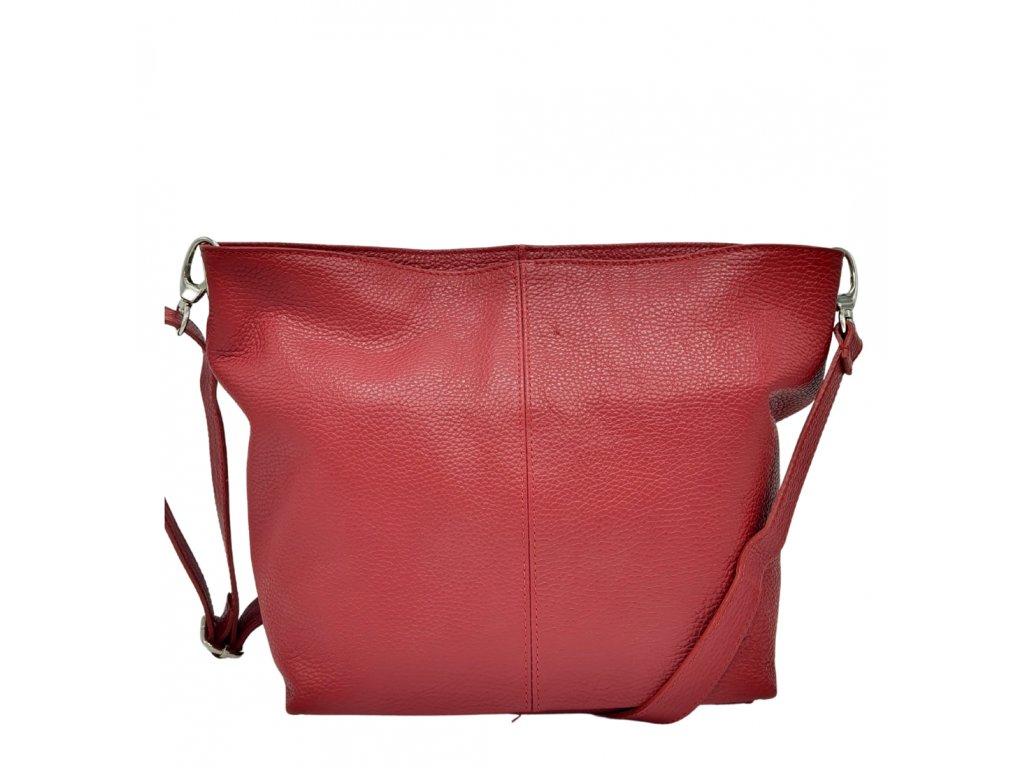 Kožená crossbody kabelka tmavá červená 3147 (3)