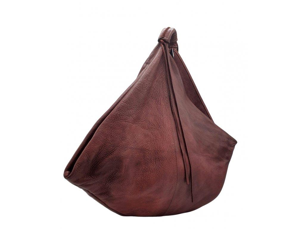 Kožená kabelka přes rameno vintage vínová
