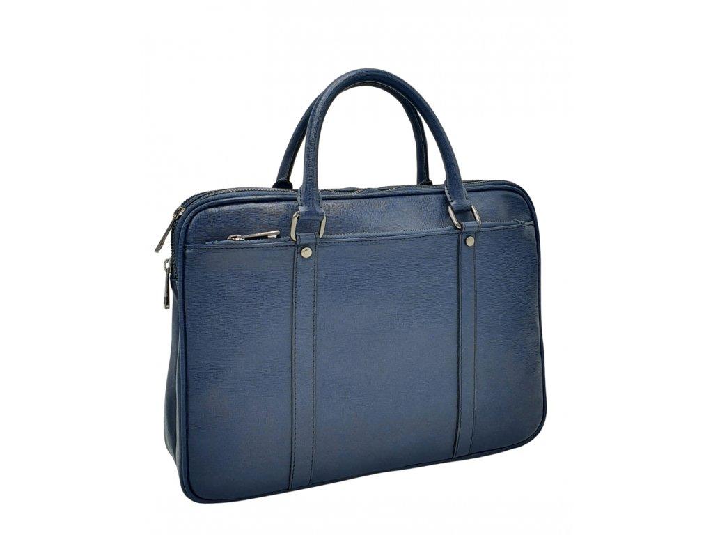 Dámská kožená business taška modrá