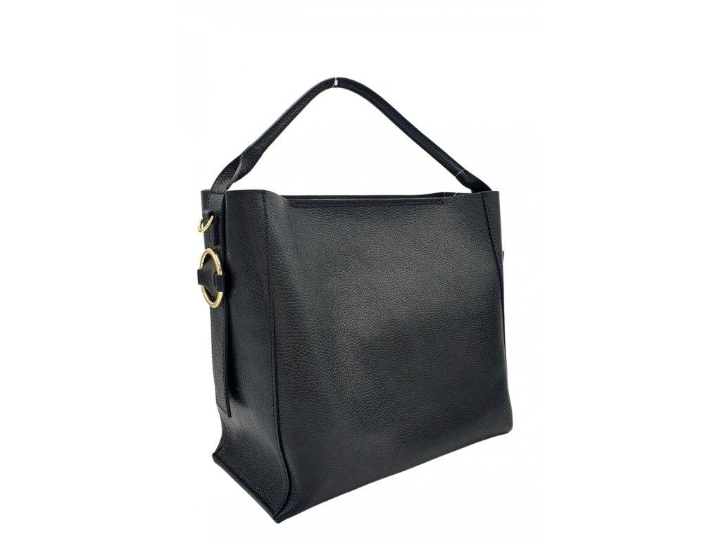 Dámská kožená kabelka mix černá