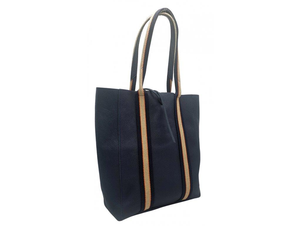 Kožená taška přes rameno tmavě modrá