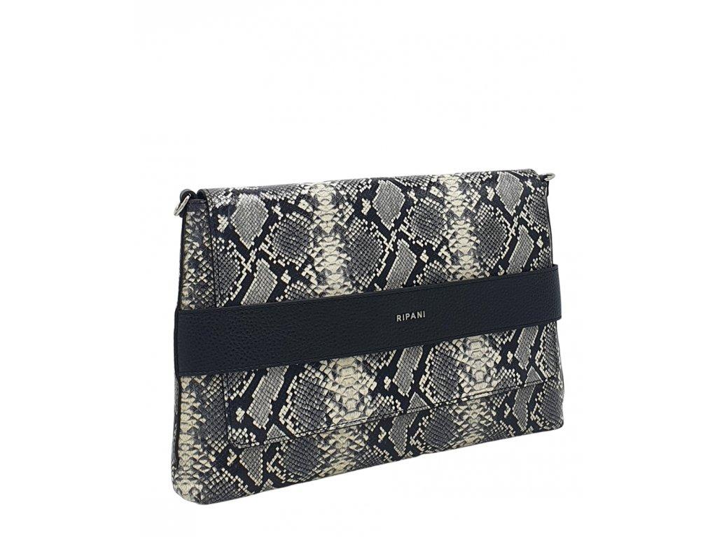 Kožená kabelka Ripani Morella černá s hadím vzorem