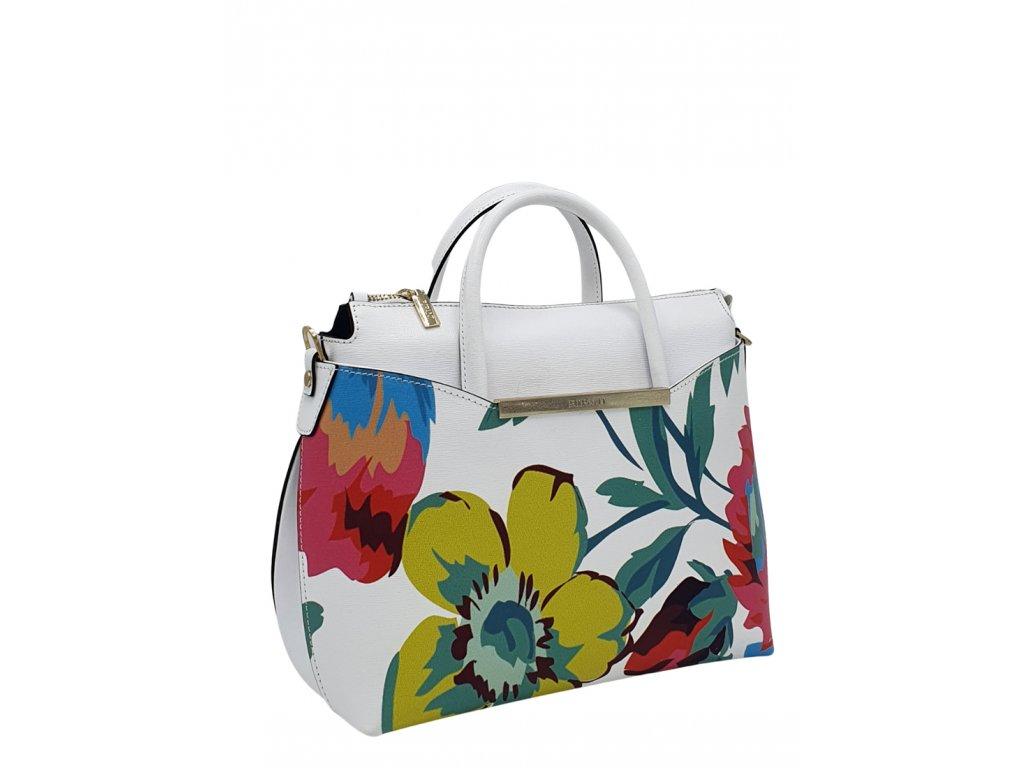 Kožená kabelka Ripani Capinera bílá s květy