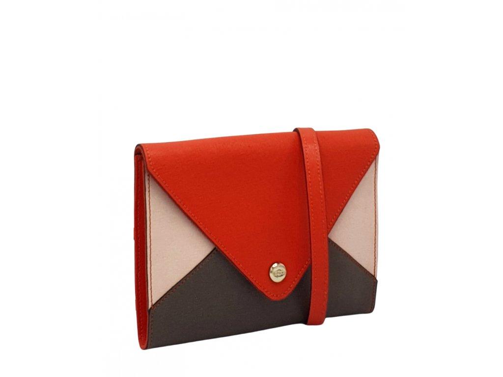 Kožená crossbody kabelka Ripani červeno-růžovo-taupe