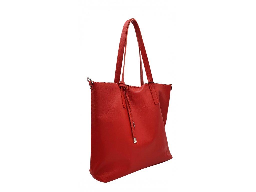 Kožená kabelka 2v1 červená hladká
