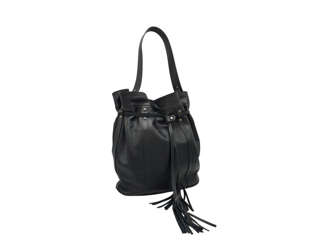 Kožená kabelka černá hladká